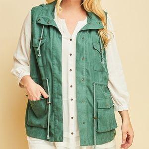 Plus Size Cargo Vest - Jade Green